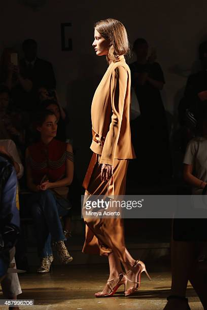A model walks the runway at the Dion Lee fashion show during Spring 2016 MADE Fashion Week at Milk Studios on September 12 2015 in New York City