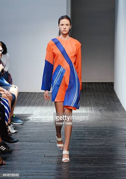 A model walks the runway at the Dion Lee fashion show during the MercedesBenz Fashion Week Spring 2015 at Hosfelt Gallery on September 6 2014 in New...