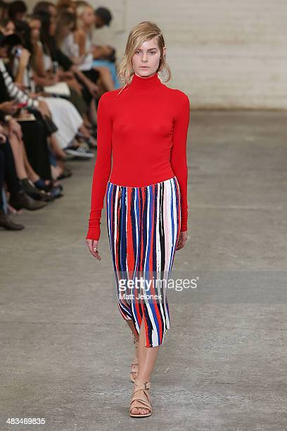 A model walks the runway at the Dion Lee II show during MercedesBenz Fashion Week Australia 2014 at 7 Danks Street Waterloo on April 9 2014 in Sydney...