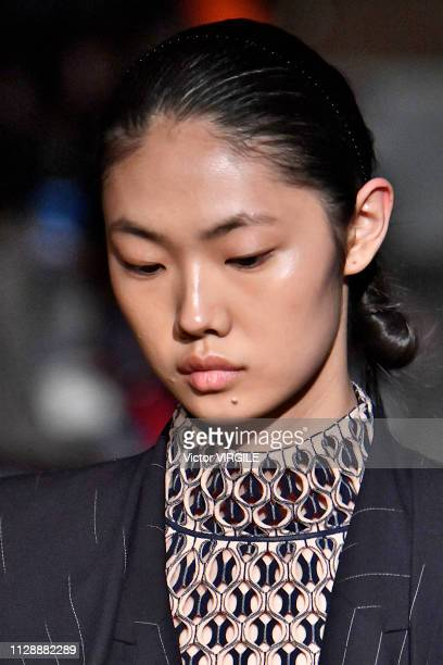 Model walks the runway at the Dion Lee Ready to Wear Fall/Winter 2019-2020 fashion show during New York Fashion Week on February 10, 2019 in New York...