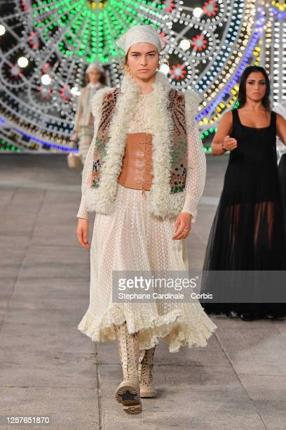 A model walks the runway at the Dior Cruise 2021 fashion show on July 22 2020 in Lecce Italy