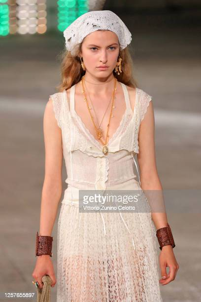 Model walks the runway at the Dior Cruise 2021 fashion show on July 22, 2020 in Lecce, Italy.
