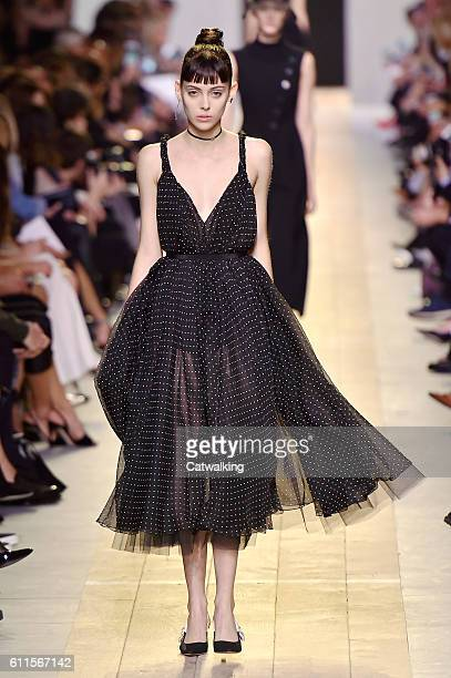 A model walks the runway at the Dior Spring Summer 2017 fashion show during Paris Fashion Week on September 30 2016 in Paris France