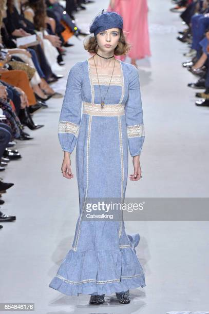 A model walks the runway at the Dior Spring Summer 2018 fashion show during Paris Fashion Week on September 26 2017 in Paris France