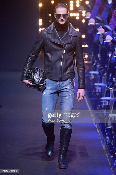 A model walks the runway at the Dirk Bikkembergs show during Milan Men's Fashion Week Fall/Winter 2016/17 on January 19 2016 in Milan Italy