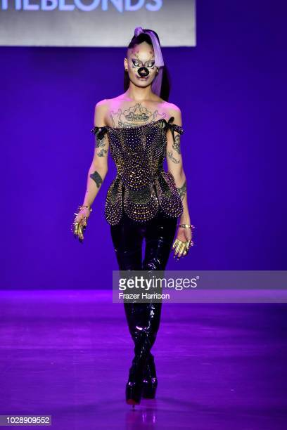 A model walks the runway at the Disney Villains x The Blonds NYFW Show during New York Fashion Week The Shows at Gallery I at Spring Studios on...