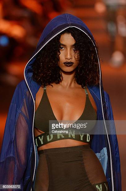 A model walks the runway at the DKNY Spring Summer 2017 fashion show during New York Fashion Week on September 12 2016 in New York United States