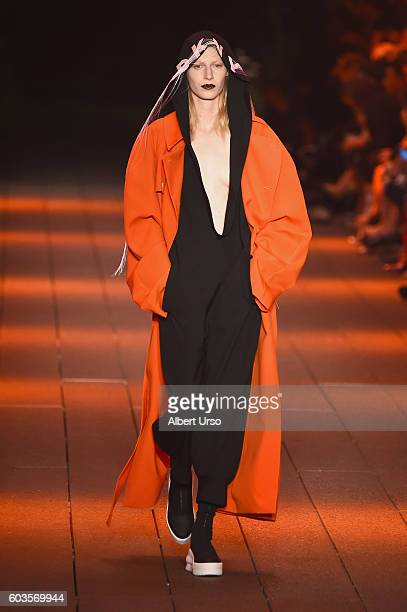 A model walks the runway at the DKNY Women fashion show during New York Fashion Week September 2016 at the High Line on September 12 2016 in New York...