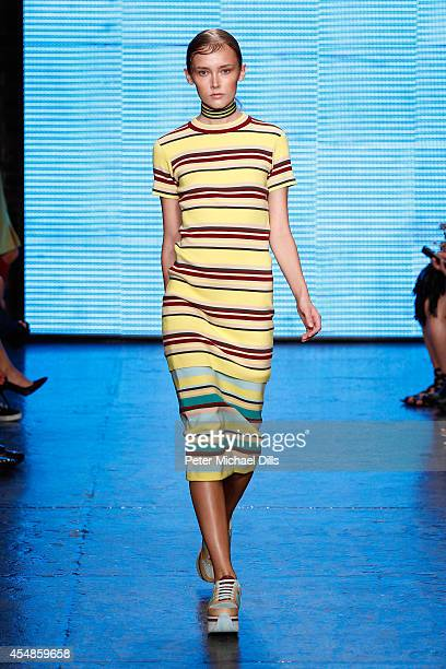 A model walks the runway at the DKNY Women's fashion show during MercedesBenz Fashion Week Spring 2015 on September 7 2014 in New York City