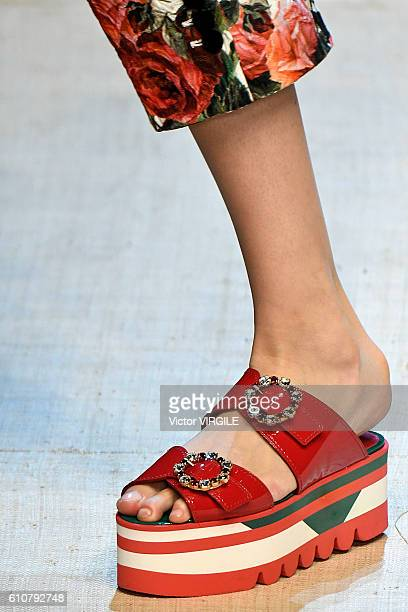 A model walks the runway at the Dolce And Gabbana Ready to Wear show during Milan Fashion Week Spring/Summer 2017 on September 25 2016 in Milan Italy