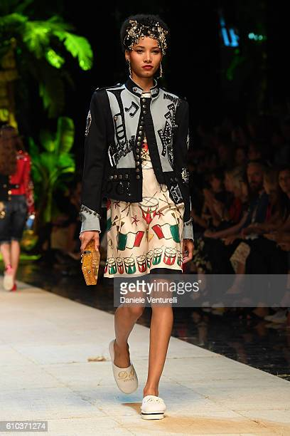 Model walks the runway at the Dolce And Gabbana show during Milan Fashion Week Spring/Summer 2017 on September 25, 2016 in Milan, Italy.