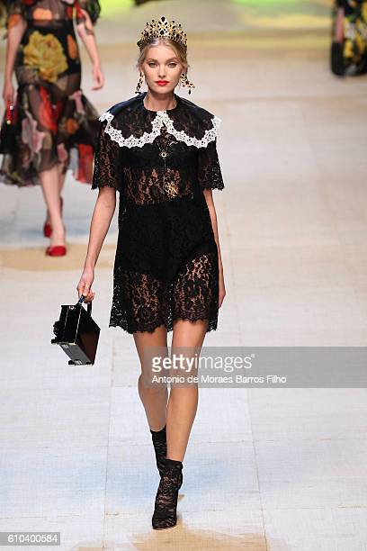 A model walks the runway at the Dolce And Gabbana show during Milan Fashion Week Spring/Summer 2017 on September 25 2016 in Milan Italy