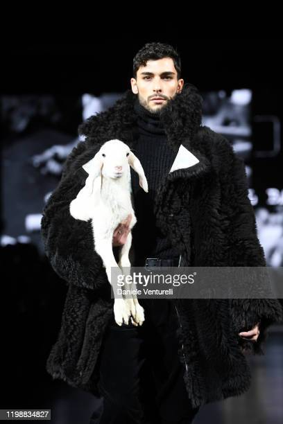 Model walks the runway at the Dolce e Gabbana fashion show on January 11, 2020 in Milan, Italy.