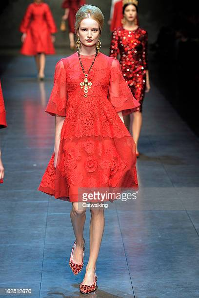 A model walks the runway at the Dolce Gabbana Autumn Winter 2013 fashion show during Milan Fashion Week on February 24 2013 in Milan Italy
