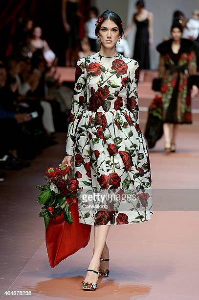 A model walks the runway at the Dolce Gabbana Autumn Winter 2015 fashion show during Milan Fashion Week on March 1 2015 in Milan Italy