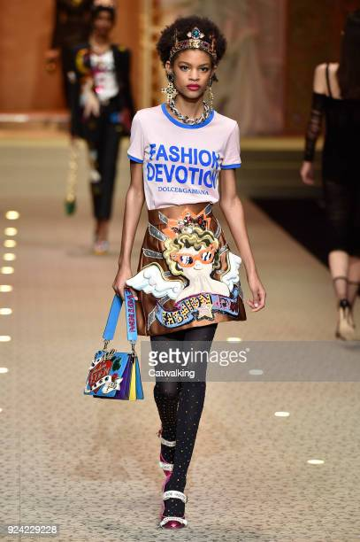 A model walks the runway at the Dolce Gabbana Autumn Winter 2018 fashion show during Milan Fashion Week on February 25 2018 in Milan Italy