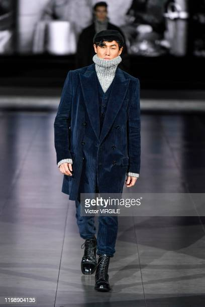 Model walks the runway at the Dolce & Gabbana Fall/Winter 2020-2021 fashion show on January 11, 2020 in Milan, Italy.