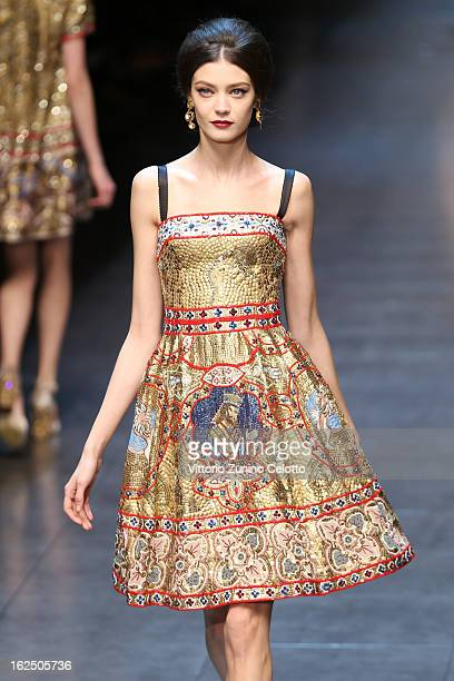 A model walks the runway at the Dolce Gabbana fashion show as part of Milan Fashion Week Womenswear Fall/Winter 2013/14 on February 24 2014 in Milan...