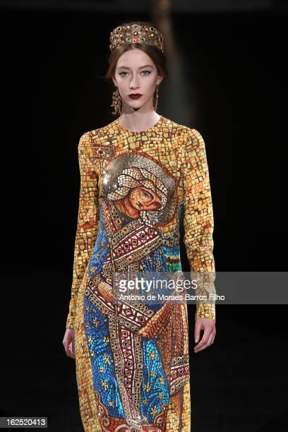 A model walks the runway at the Dolce Gabbana fashion show during Milan Fashion Week Womenswear Fall/Winter 2013/14 on February 24 2013 in Milan Italy