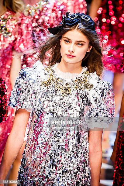 A model walks the runway at the Dolce Gabbana fashion show during Milan Fashion Week Fall/Winter 2016/17 on February 28 2016 in Milan Italy