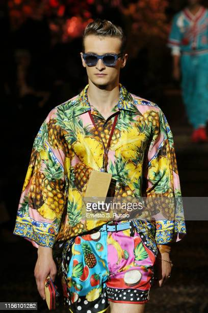 Model walks the runway at the Dolce & Gabbana fashion show during the Milan Men's Fashion Week Spring/Summer 2020 on June 15, 2019 in Milan, Italy.