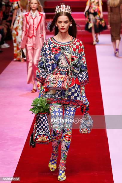 Model walks the runway at the Dolce & Gabbana Ready to Wear Spring/Summer 2018 fashion show during Milan Fashion Week Spring/Summer 2018 on September...