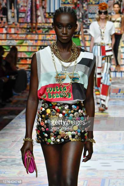 A model walks the runway at the Dolce Gabbana Ready to Wear Spring/Summer 2021 fashion show during the Milan Women's Fashion Week on September 23...