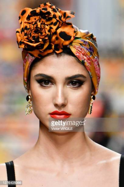 Model walks the runway at the Dolce & Gabbana Ready to Wear Spring/Summer 2021 fashion show during the Milan Women's Fashion Week on September 23,...