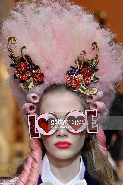 A model walks the runway at the Dolce Gabbana Ready to Wear Fall/Winter 20182019 fashion show during Milan Fashion Week Fall/Winter 2018/19 on...
