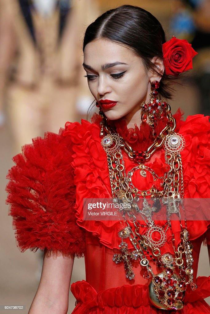 A model walks the runway at the Dolce & Gabbana Ready to Wear Fall/Winter 2018-2019 fashion show during Milan Fashion Week Fall/Winter 2018/19 on February 25, 2018 in Milan, Italy.