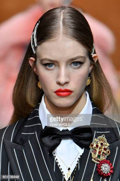 Model walks the runway at the Dolce & Gabbana Ready to Wear Fall/Winter 2018-2019 fashion show during Milan Fashion Week Fall/Winter 2018/19 on...