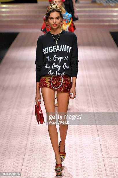 A model walks the runway at the Dolce Gabbana Ready to Wear fashion show during Milan Fashion Week Spring/Summer 2019 on September 23 2018 in Milan...