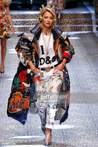 Model walks the runway at the Dolce & Gabbana Ready to Wear fashion show during Milan Fashion Week Fall/Winter 2017/18 on February 26, 2017 in Milan,...
