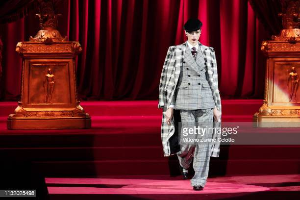 A model walks the runway at the Dolce Gabbana show at Milan Fashion Week Autumn/Winter 2019/20 on February 24 2019 in Milan Italy