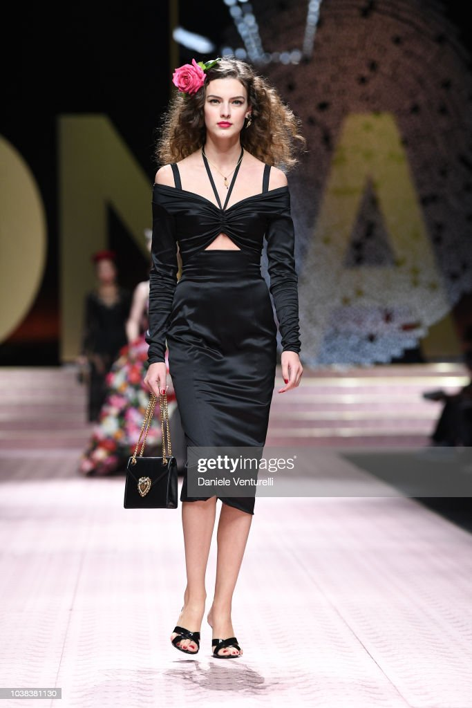 A model walks the runway at the Dolce & Gabbana fashion