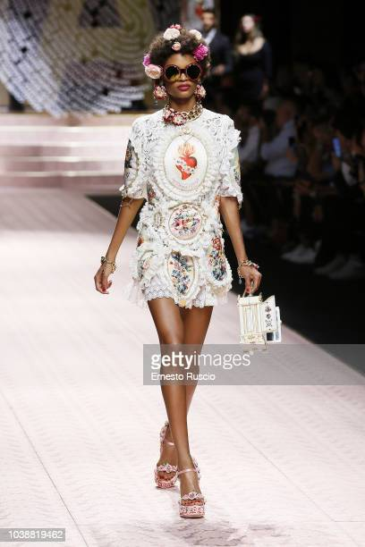 A model walks the runway at the Dolce Gabbana show during Milan Fashion Week Spring/Summer 2019 on September 23 2018 in Milan Italy