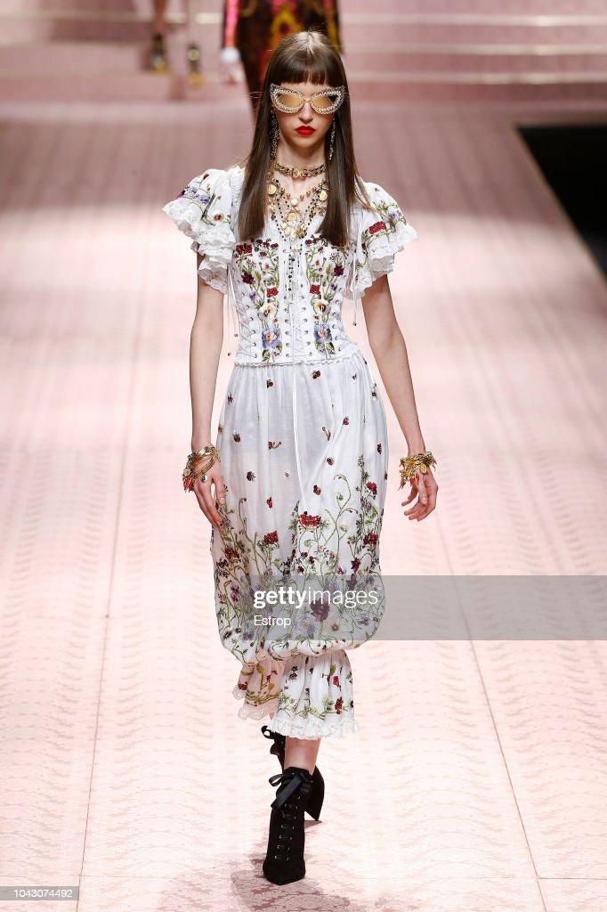 A model walks the runway at the Dolce & Gabbana Autumn
