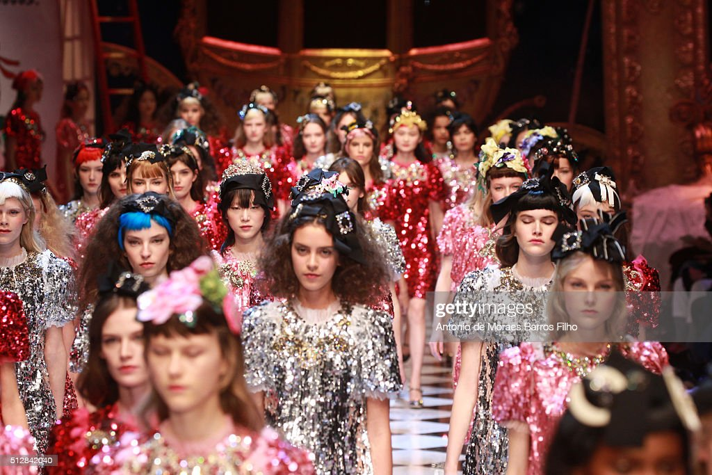 A model walks the runway at the Dolce & Gabbana show during Milan Fashion Week Fall/Winter 2016/17 on February 28, 2016 in Milan, Italy.