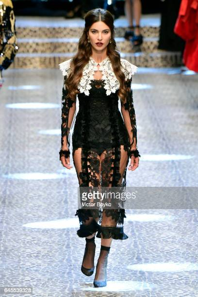 A model walks the runway at the Dolce Gabbana show during Milan Fashion Week Fall/Winter 2017/18 on February 26 2017 in Milan Italy