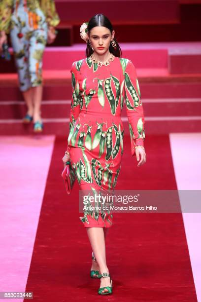 A model walks the runway at the Dolce Gabbana show during Milan Fashion Week Spring/Summer 2018 on September 24 2017 in Milan Italy