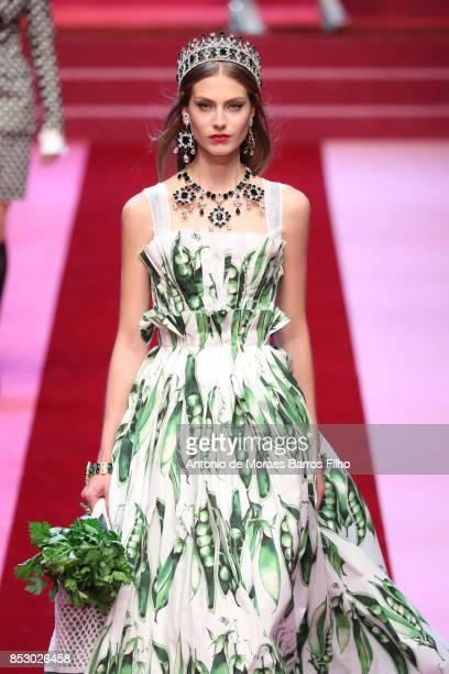 Model walks the runway at the Dolce & Gabbana show during Milan Fashion Week Spring/Summer 2018 on September 24, 2017 in Milan, Italy.