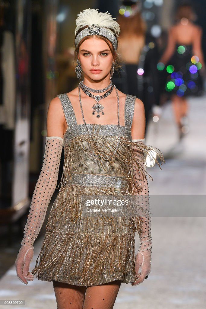 A Model walks the runway at the Dolce & Gabbana show during Milan Fashion Week Fall/Winter 2018/19 on February 24, 2018 in Milan, Italy.