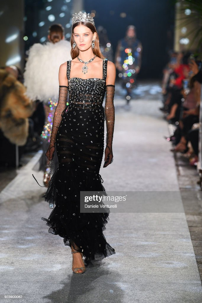 A model walks the runway during the Dolce & Gabbana show