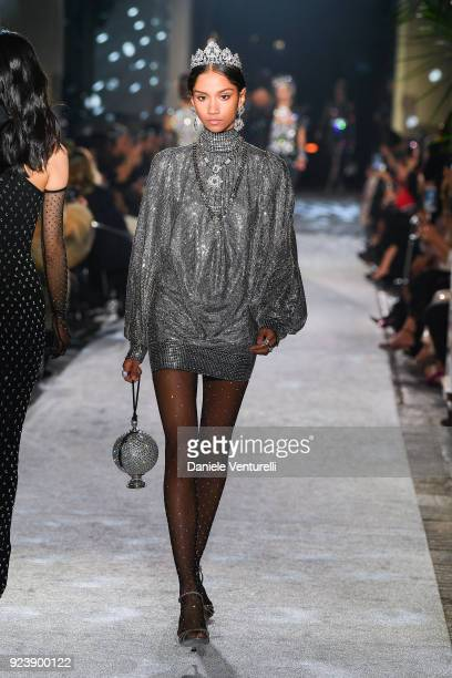 Model walks the runway at the Dolce Gabbana show during Milan Fashion Week Fall/Winter 2018/19 on February 24 2018 in Milan Italy