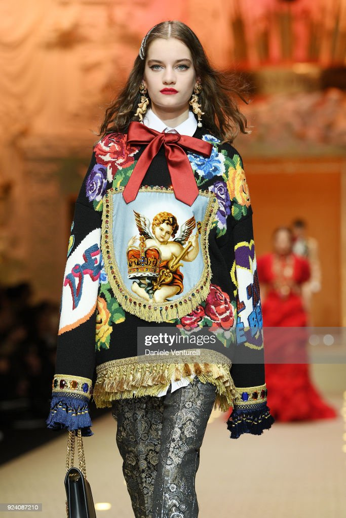 A model walks the runway at the Dolce & Gabbana show during Milan Fashion Week Fall/Winter 2018/19 on February 25, 2018 in Milan, Italy.