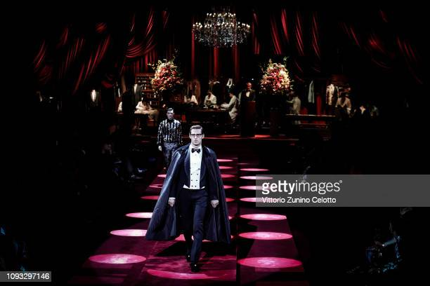 A model walks the runway at the Dolce Gabbana show during Milan Men's Fashion Week Autumn/Winter 2019/20 at Metropol on January 12 2019 in Milan Italy
