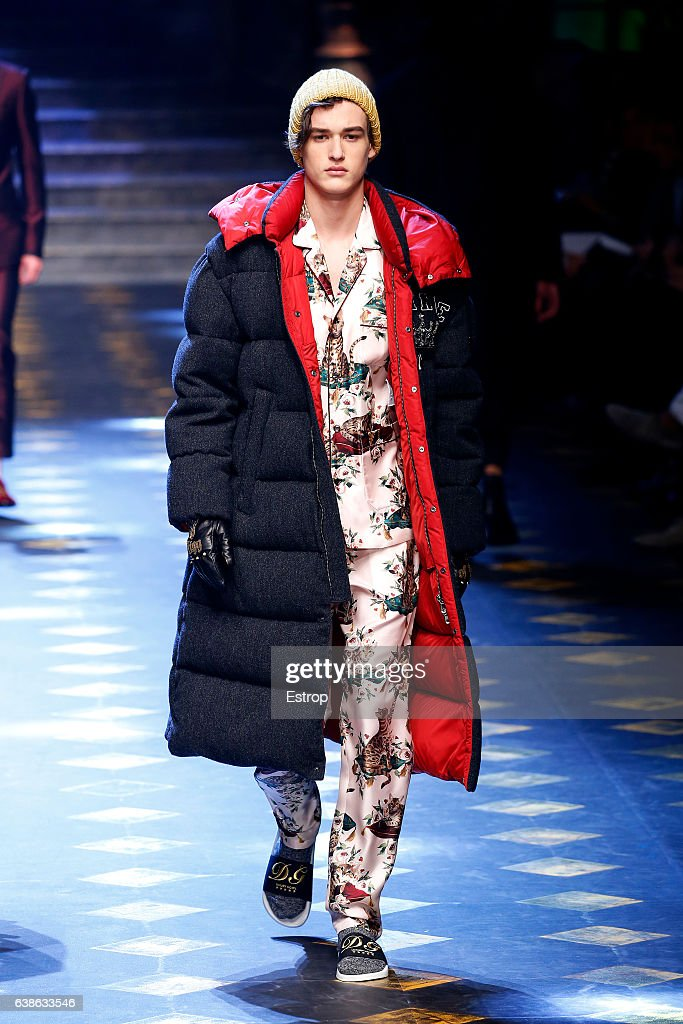 A model walks the runway at the Dolce & Gabbana show during Milan Men's Fashion Week Fall/Winter 2017/18 on January 14, 2017 in Milan, Italy.