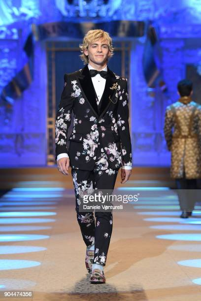 Model walks the runway at the Dolce Gabbana show during Milan Men's Fashion Week Fall/Winter 2018/19 on January 13 2018 in Milan Italy