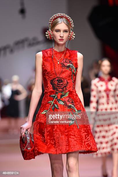 Model walks the runway at the Dolce & Gabbana show during the Milan Fashion Week Autumn/Winter 2015 on March 1, 2015 in Milan, Italy.