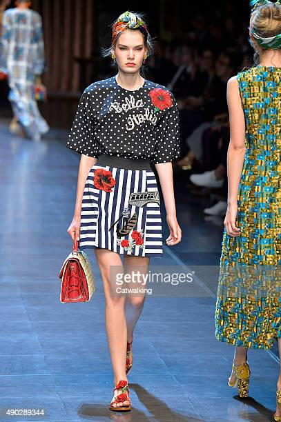 A model walks the runway at the Dolce Gabbana Spring Summer 2016 fashion show during Milan Fashion Week on September 27 2015 in Milan Italy